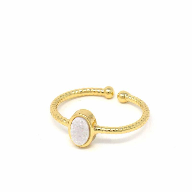 White Druzy Agate Stone Ring - One Size - fairtribe