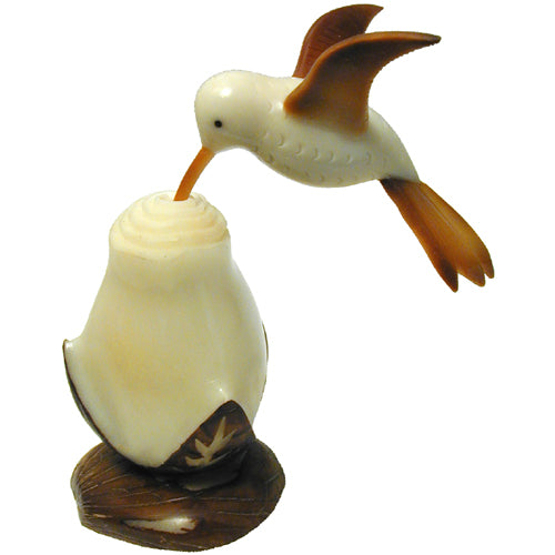 Humming Bird w/ Flower Tagua Nut Figurine