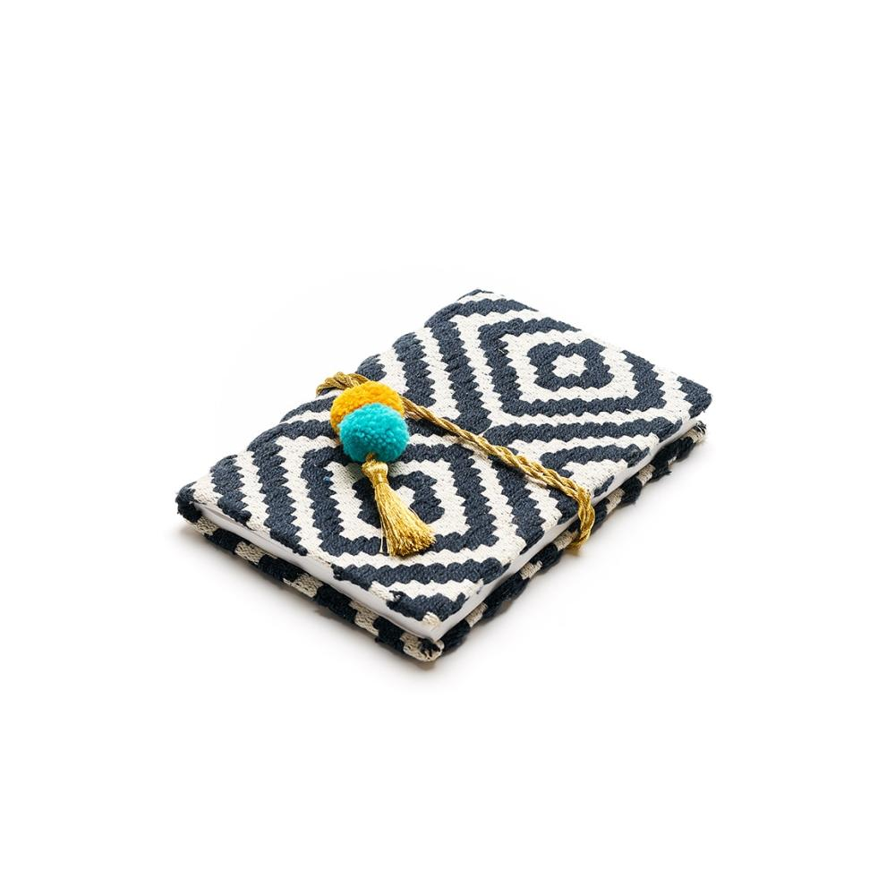 Hana Pom Pom Journal | Black & White Chevron