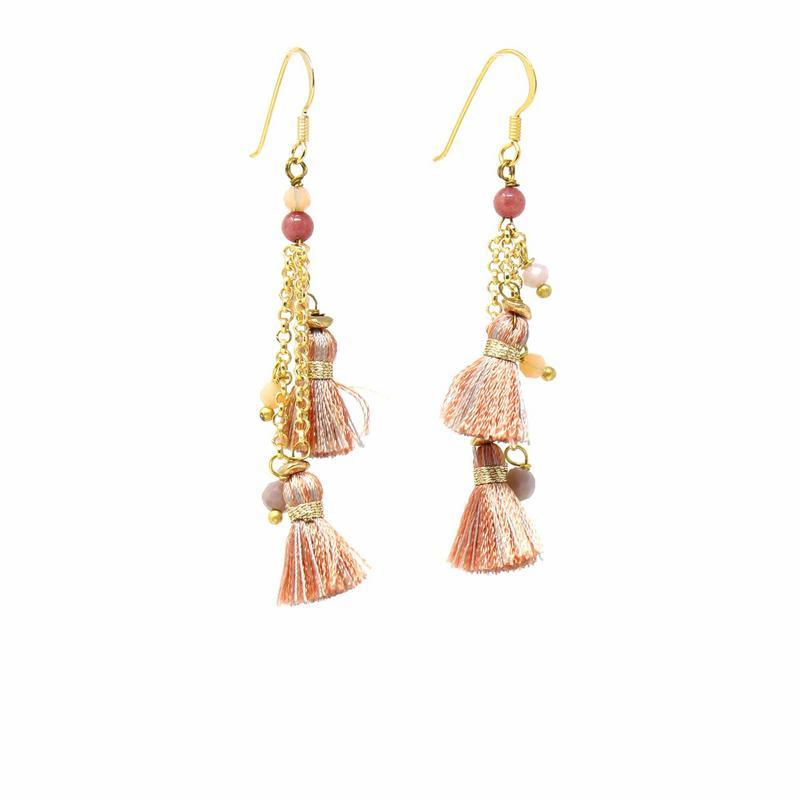 Rebecca Earring, Coral Sands - Pink Tassels - fairtribe
