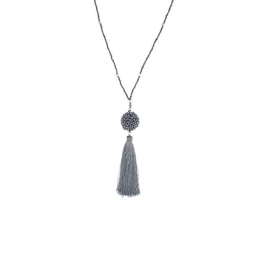 The Wanderer Tassel Necklace, Steel - Aid Through Trade - fairtribe