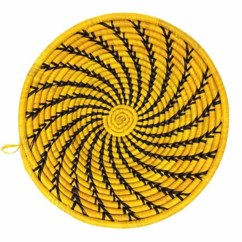 Fruit Basket | Yellow with Dark Spiral Swirl | Artisan made in Kenya