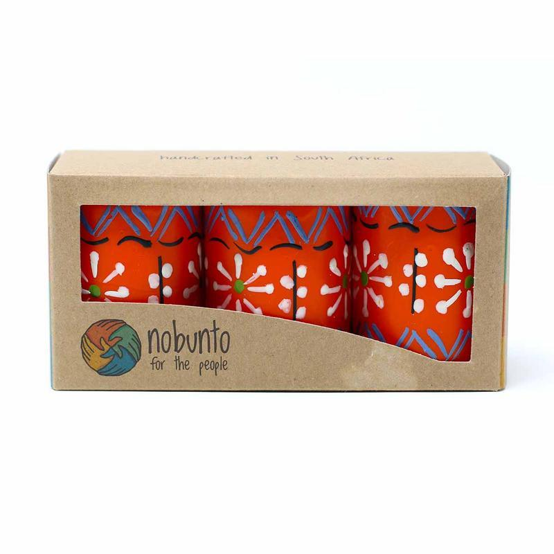 Hand Painted Candles in Orange Masika Design (box of three) - Nobunto - fairtribe