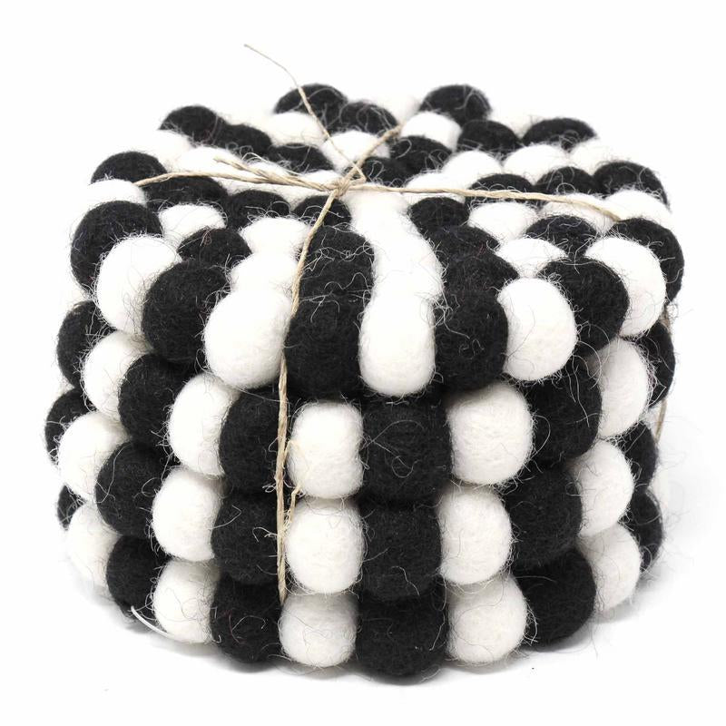 Hand Crafted Felt Ball Coasters from Nepal: 4-pack, Multicolor Black and White - Global Groove (T) - fairtribe
