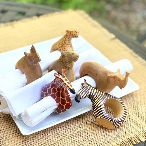 Safari Animal Napkin Rings | Set of 6