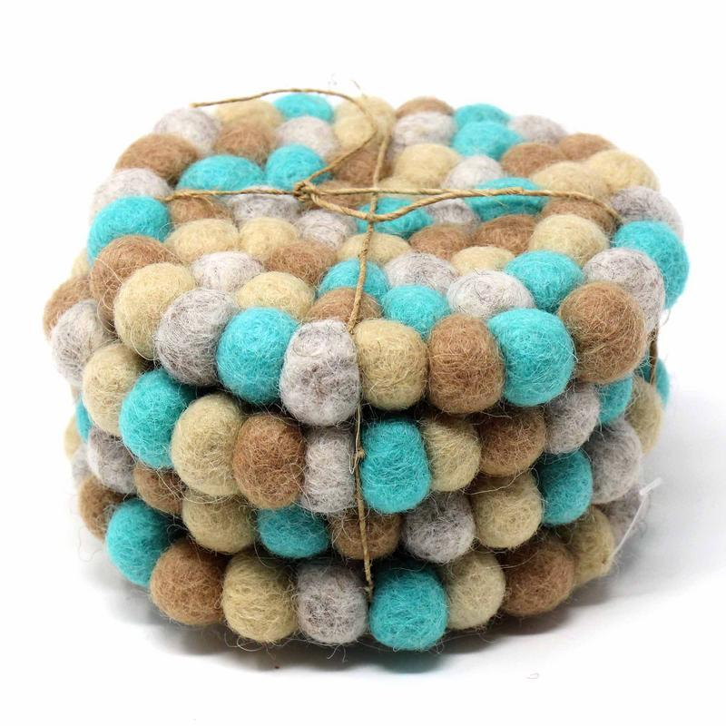 Hand Crafted Felt Ball Coasters from Nepal: 4-pack, Sky - fairtribe