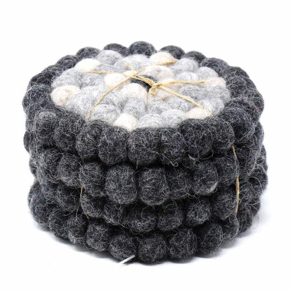 Hand Crafted Felt Ball Coasters from Nepal: 4-pack, Flower Black/Grey - Global Groove (T) - fairtribe