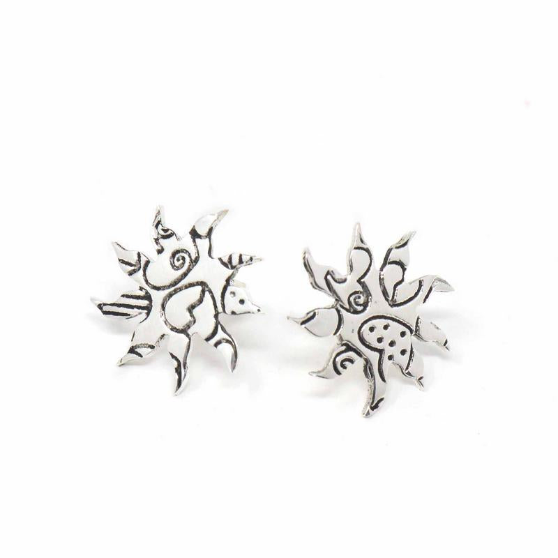 Starburst Stud Earrings - Silver Plated