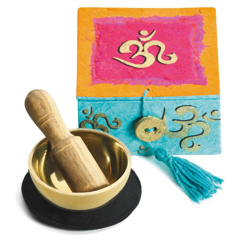 "Mini Meditation Bowl Box: 2"" Om - DZI (Meditation) - fairtribe"