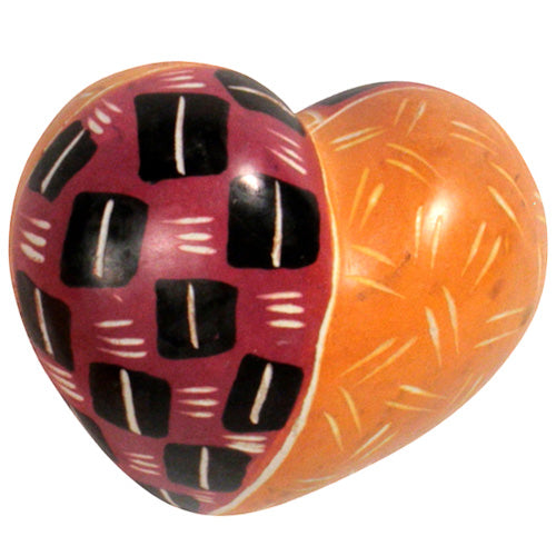 Soapstone Heart- Pink & Orange Tribal Pattern - fairtribe