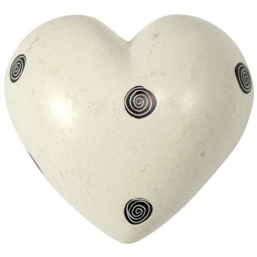 White with Black Spirals Soapstone Heart - fairtribe