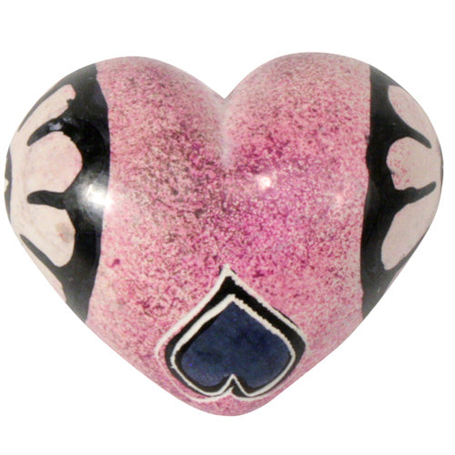Carved Soapstone Heart - Pink Flowers - fairtribe