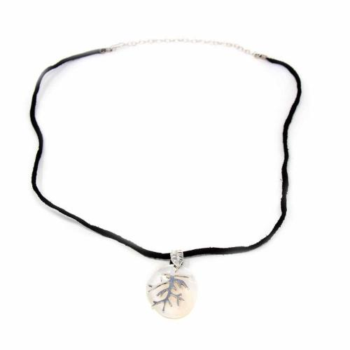 Silver Branches on Mother of Pearl - Pendant Necklace