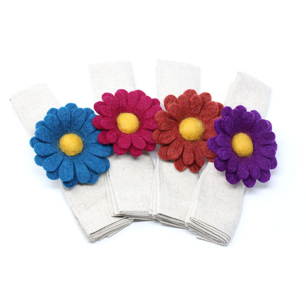 Gerber Daisy Napkin Rings - Set of Four Colors - Global Groove (T) - fairtribe