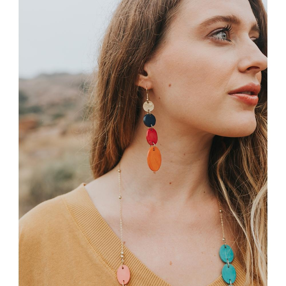 Ria Earrings | Multi Color Drop