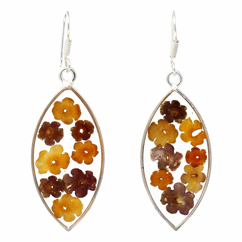 Flowers in Resin Ellipse Earrings