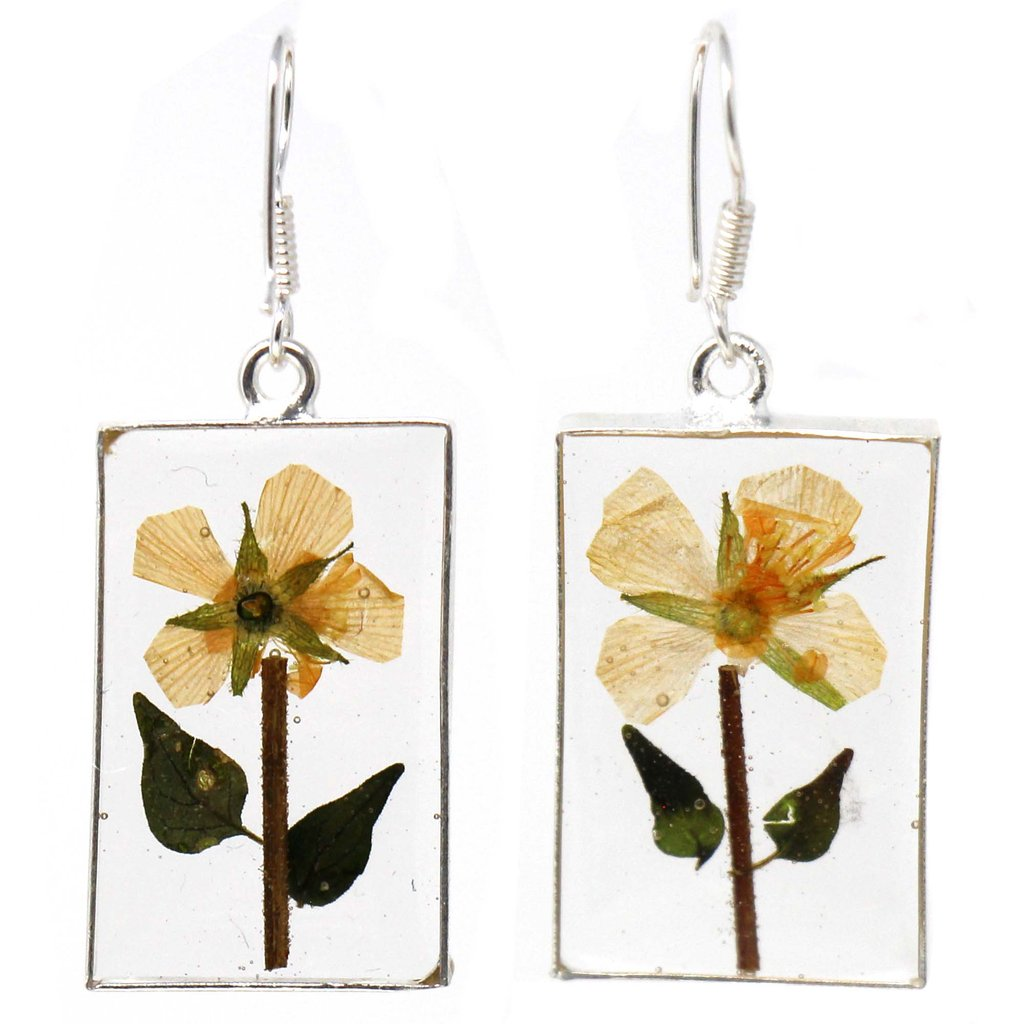 Pressed Yellow Flower Rectangle Dangle Earrings