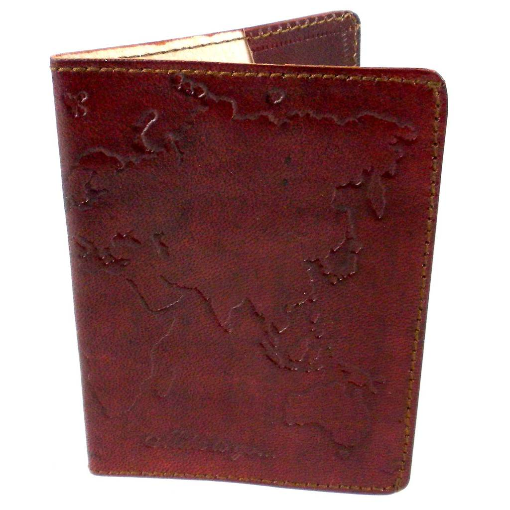 Leather World Passport Cover - Brown