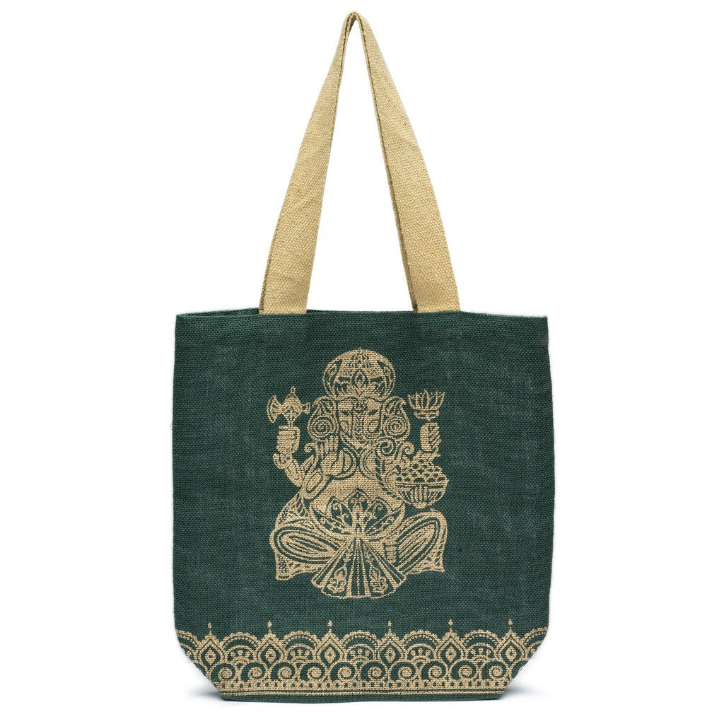 Metallic Ganesha Jute Tote - Forest Green - Matr Boomie (Bag) - fairtribe