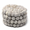Hand Crafted Felt Ball Coasters from Nepal: 4-pack, Light Grey - Global Groove (T) - fairtribe