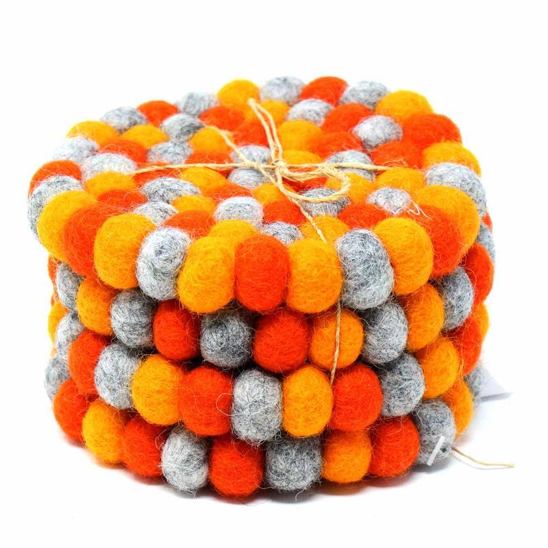 Felt Ball Coasters from Nepal: 4-pack, Chakra Oranges - fairtribe