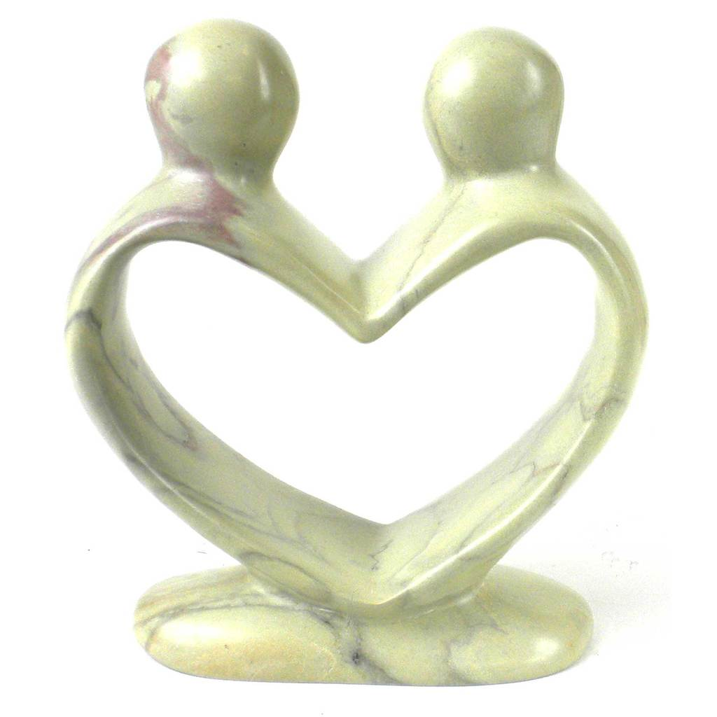 White Soapstone Lovers Heart  - 6 Inch