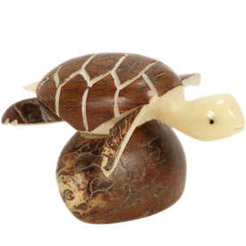 Brown Sea Turtle Tagua Figurine