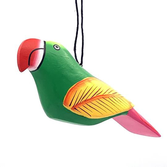 Green Macaw | Balsa Wood Ornament | Fair Trade