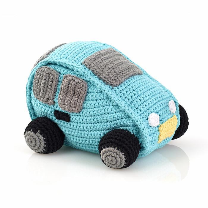 Turquoise Car Fair Trade Knitted Baby Rattle - fairtribe