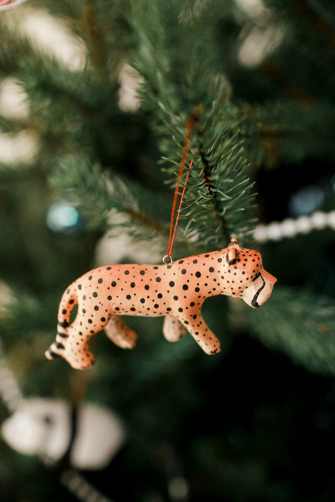 Hand-carved Cheetah Ornament