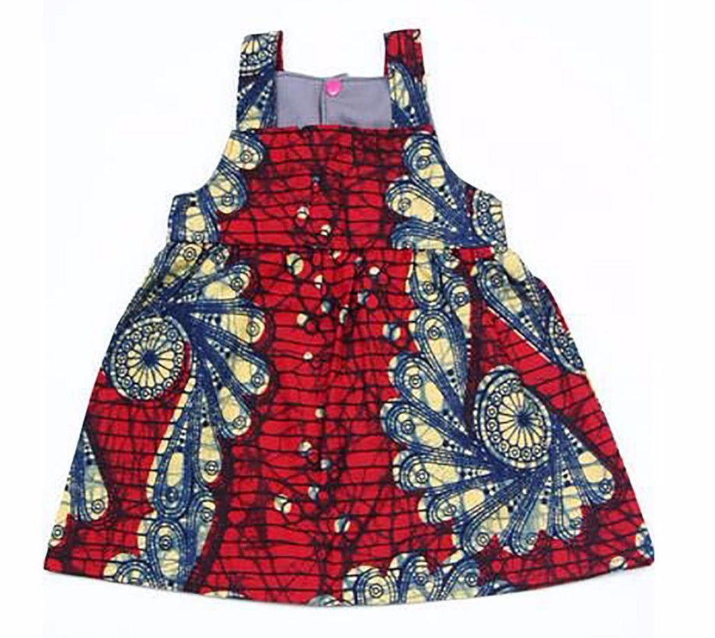 Red Fan African Wax print Baby Sundress - fairtribe