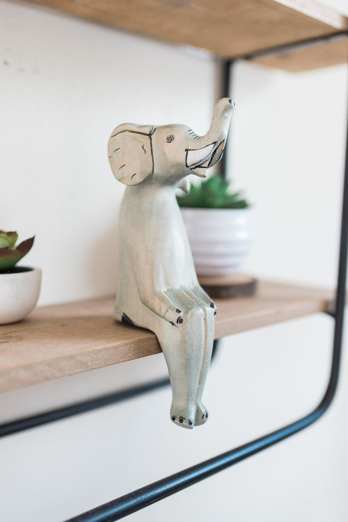 Sitting Elephant Shelf Decor