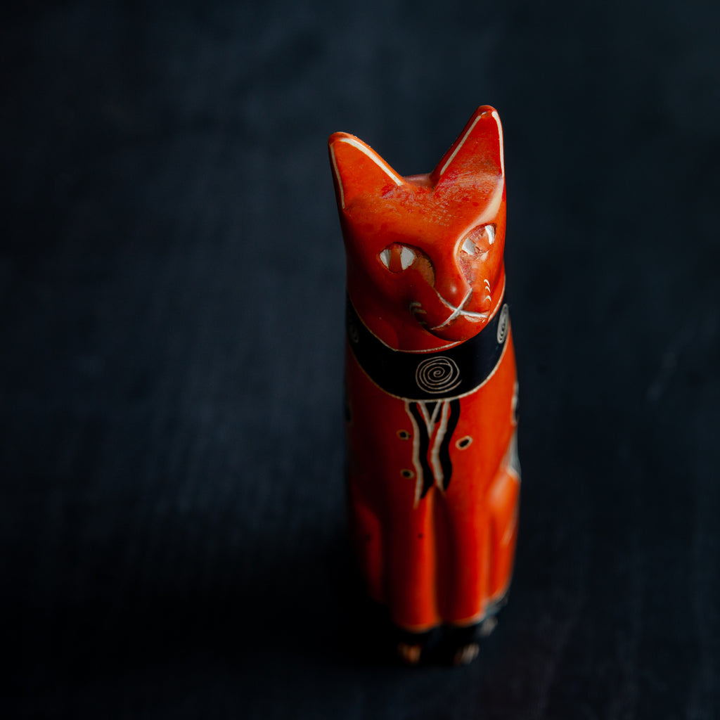Orange Cat | Soapstone Sculpture | 5-inch