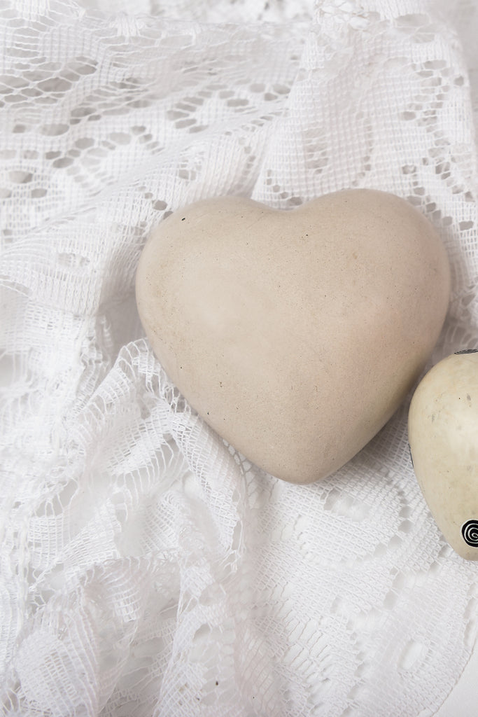 3 sizes | Cream Soapstone Heart Carving | Made in Haiti