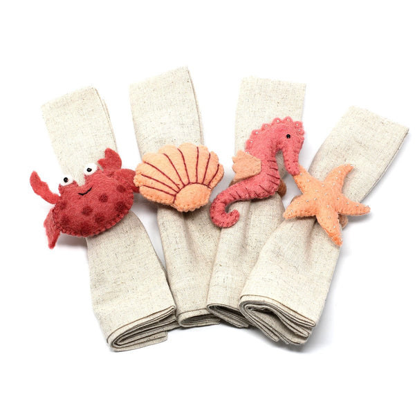 Hand-felted Seashore Napkin Rings, Set of Four Designs - Global Groove (T) - fairtribe
