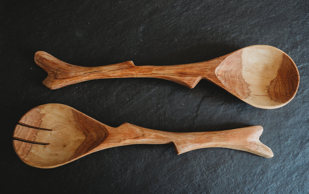 12 Inch Olive Wood Twig Salad Servers - Jedando Handicrafts - fairtribe