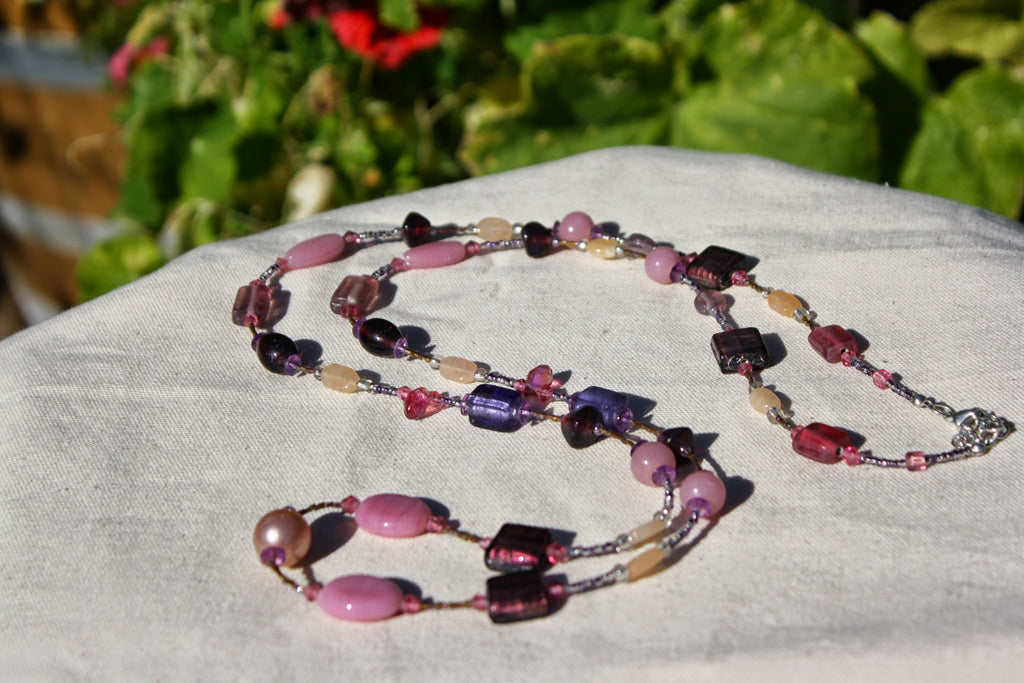 Recycled Glass Bead Necklace ~ Assorted Pink & Purple Beads