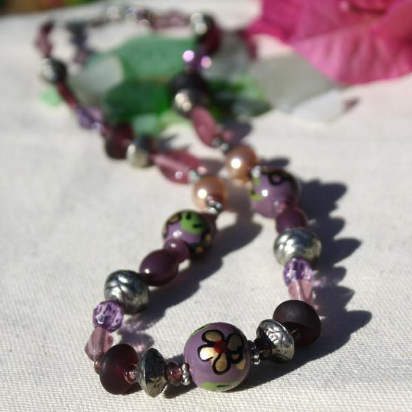 Recycled Glass Bead Fair Trade Necklace ~ Purple & Pink - fairtribe