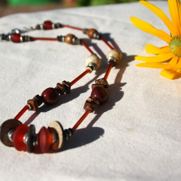 Red Recycled Glass and Coconut Shell Seed Necklace - fairtribe