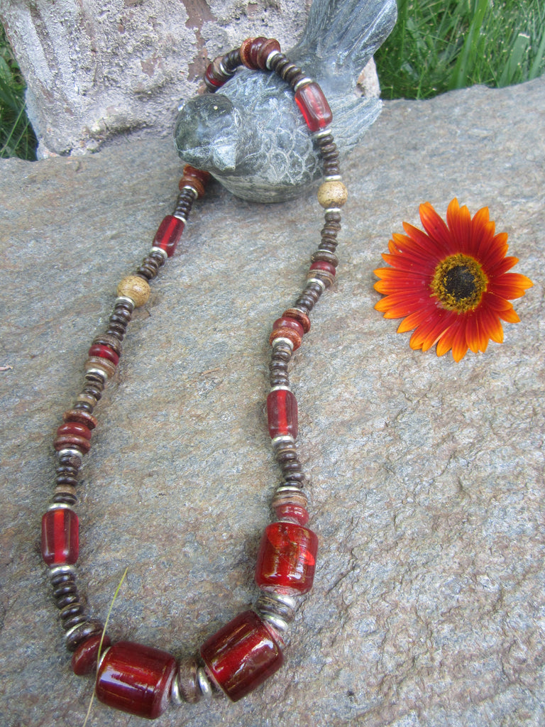 Red Glass Statement Bead Necklace
