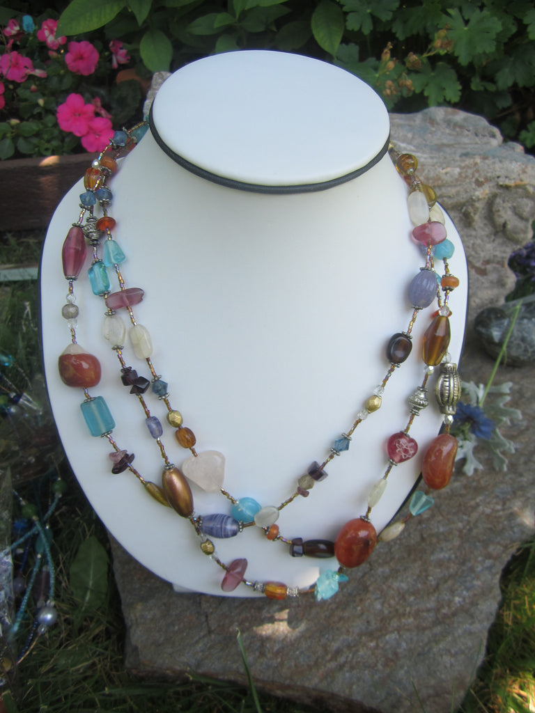 Statement 3 Strand Bead Necklace