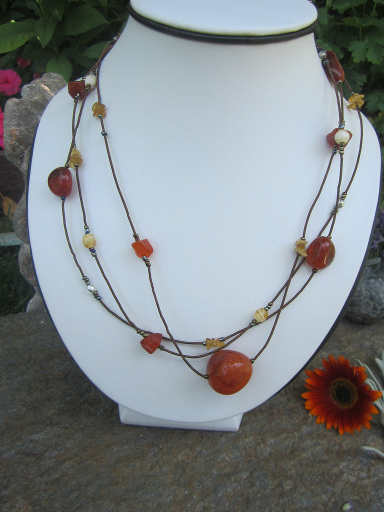 Copper Pebble and Zari Multi-strand Necklace