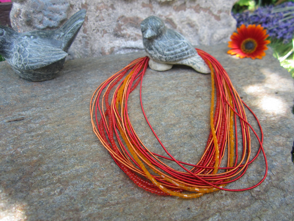 Seed Bead & Wire Multi-Strand Necklace - Various Colors