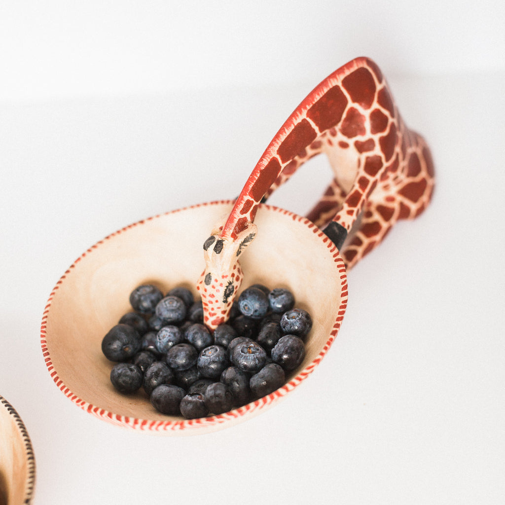 Giraffe Wooden Decorative Snack Bowl