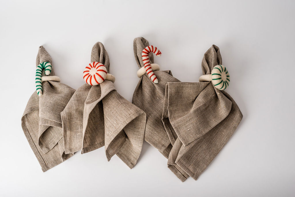 Set of 4 - Felt Peppermint Candy Christmas Napkin Rings