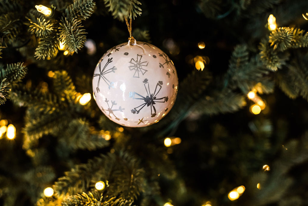 Silver Snowflakes Ball | Handpainted Ornament