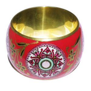 Red Mandala Handpainted  Fair Trade Wide Bangle - fairtribe