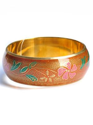 Orange Floral Handpainted Fair Trade Bangle - fairtribe