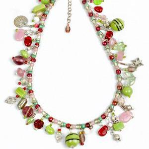 Apple Green & Pink Recycled Glass Charm Necklace & Bracelet - fairtribe