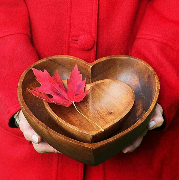 "6"" Acacia Wood Heart Bowl - fairtribe"
